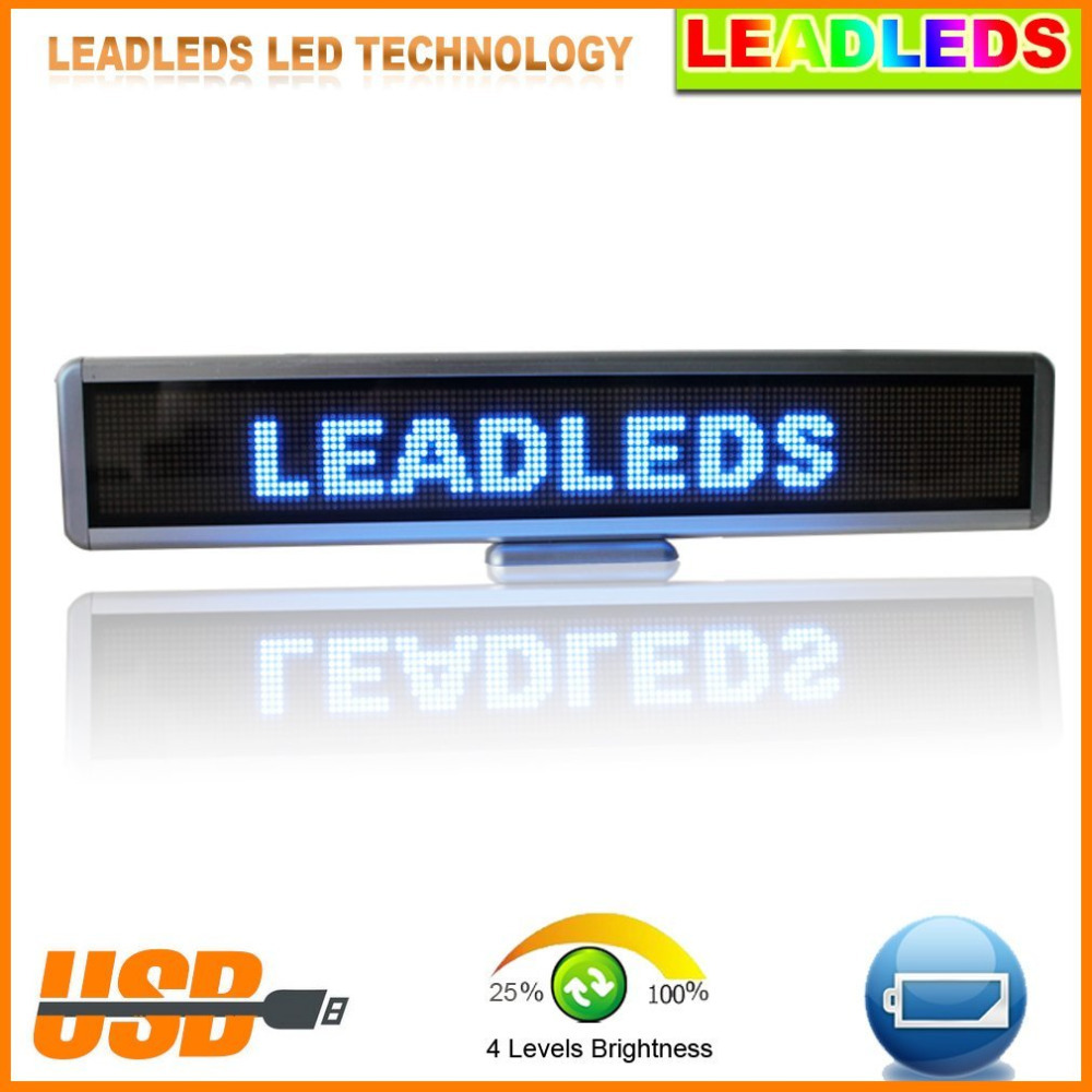 Blue Led Display Board Portable Rechargeable Usb Programmable Moving Message store Led Business Sign Board