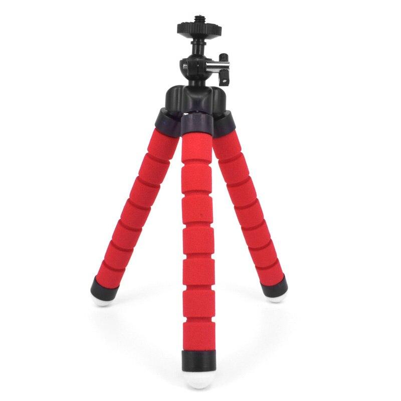 Штатив-держатель для телефона, универсальная подставка для телефона, гибкий губчатый мини-штатив с Bluetooth дистанционным затвором для камеры iPhone - Цвет: Red