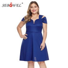 SEBOWEL Plus Size Blue/Black A-line Short Sleeve Dresses Woman Summer 2019 Elegant Ladies Formal Party Big Dress XL-5XL