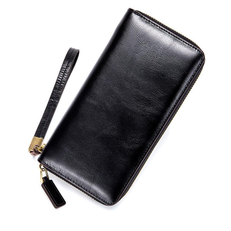 3PCS/Lot Wholesale Women Retro Genuine Leather Long Zipper Wallets Oil Wax Skin Lady Clutch Bag Wrist Strap Phone Bag Purse