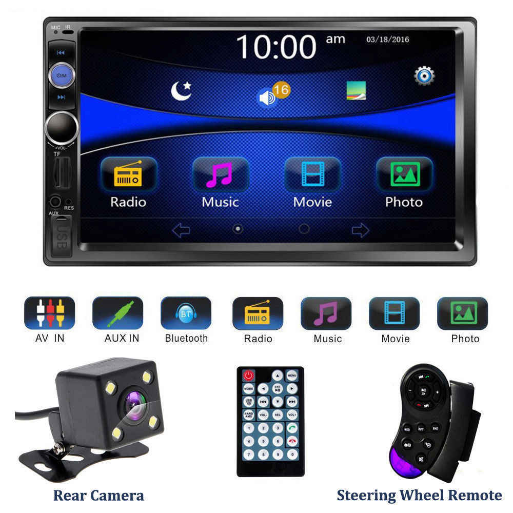 "Hikity 2 din Auto Radio 7 ""HD Autoradio Multimedia Player 2DIN Touch Screen Auto Car audio Stereo MP5 Bluetooth USB TF di FM Della Macchina Fotografica"