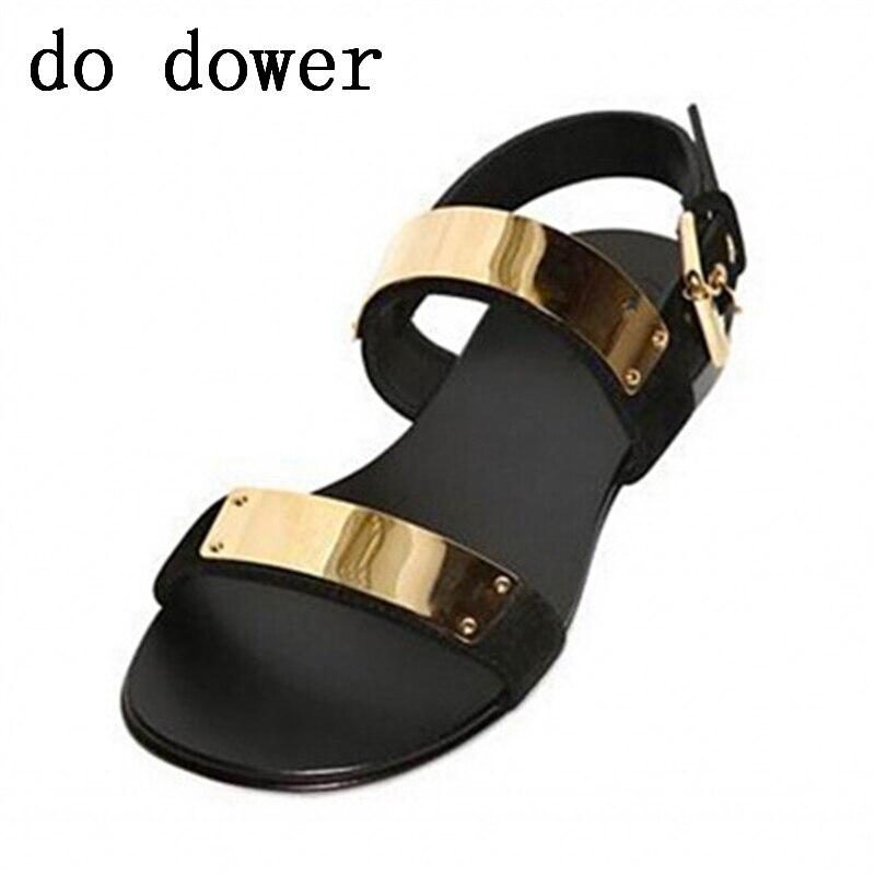 Summer New Luxury Men Concise Sandals Fashion Male Solid Sandalias Beach Shoes Leather Flats Rivet Metal Decoration Sandals
