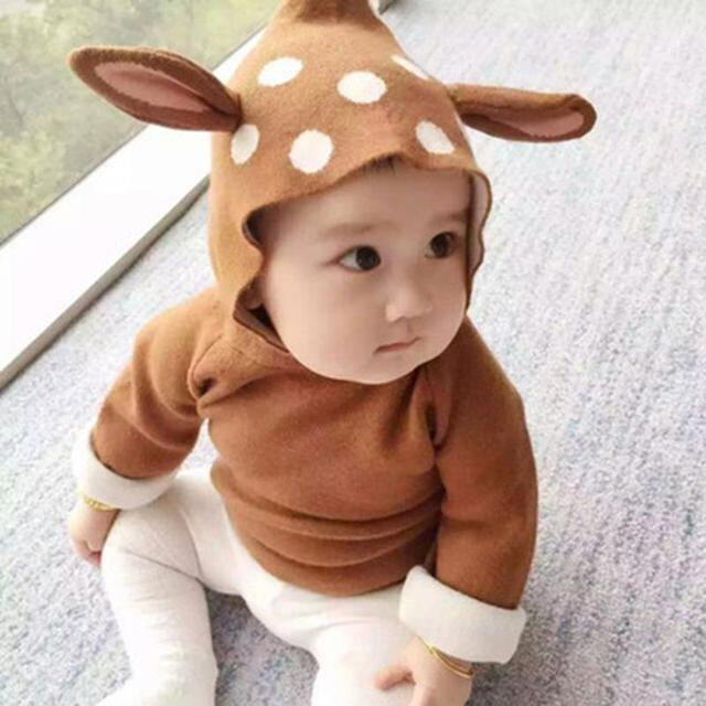Plus velvet thick deer ears baby core yarn knit cardigan children's clothing hooded sweater