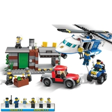 цена на Building Block Model Police Educational Toy Child 10424 Compatible Brick Legoing Police Patrol Helicopter 60047