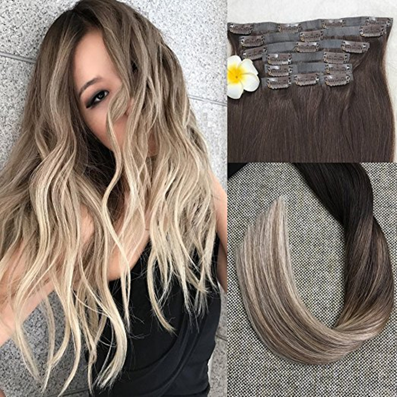 Full Shine Seamless Tape In Clip Hair Extensions Ombre