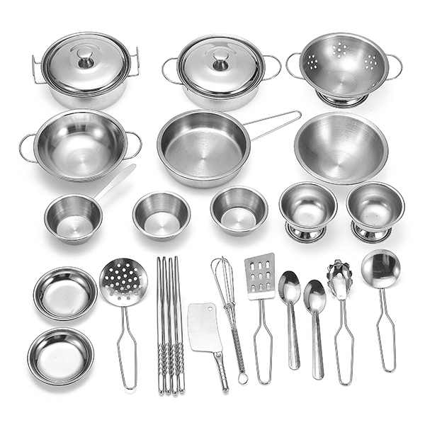 25pcs/set New Stainless Kitchenware Playing Set Kitchen Cooker Set For Children Kids Pretend Role Play Toy Gift