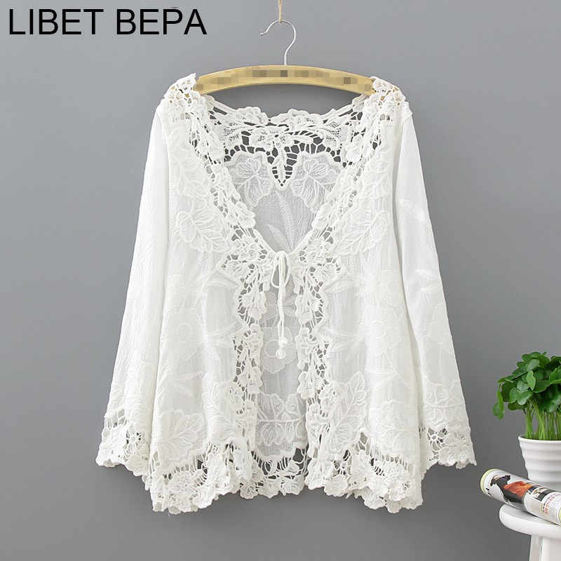 New 2018 Summer Casual Cardigan Fashion Sexy Hollow Out Sun Shirt Transparent Lace Crocheted Beach Blouses Women Top CA8009