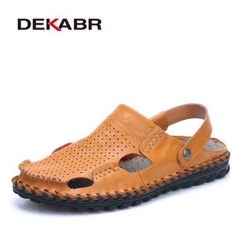 DEKANR Summer Sandals Men Cow Split Leather Sandals Fashioon Slippers Men Casual Beach Sandals Flip Flops Men Shoes Sandalias