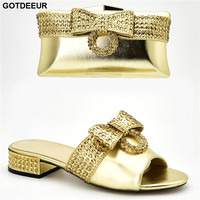 African Wedding Italian Shoe and Bag Sets 2019 Ladies Shoes with Matching Bags Set Decorated with Rhinestone Party Shoes and Bag
