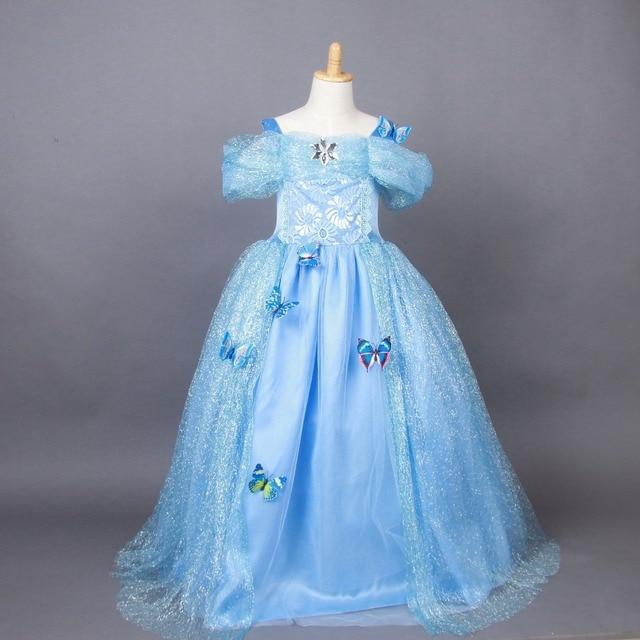 ad8bd6e97 2015 Elsa Anna Princess Costume Dress for Girls Cosplay Satin Long ...