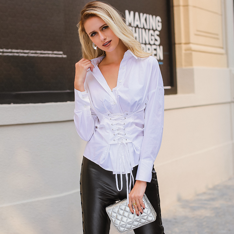 56d842ae2f8 Lily Rosie Girl Sexy Lace Up Waist White Blouse Women Autumn Winter Casual  Long Sleeve Tops Cotton Striped Shirts Sexy Blusas-in Blouses   Shirts from  ...