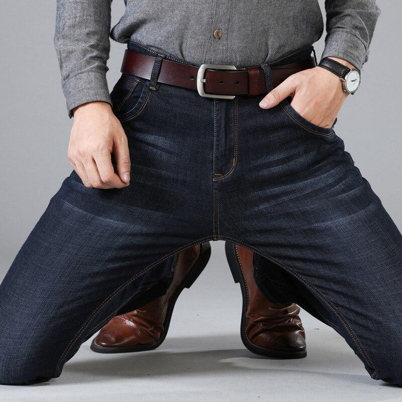 2019 New Men's Jeans Slim Business Casual Elastic Straight Jean Black Blue Denim Pants Male Brand Pants Big Size 40 42