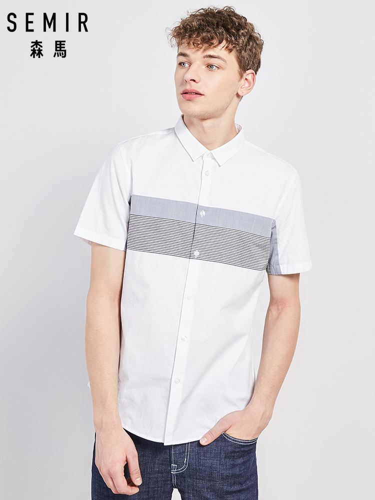 SEMIR Short Sleeved Shirt Men 2019 Summer New Color Contrast Stitching Casual Shirt Cotton Shirt Korean