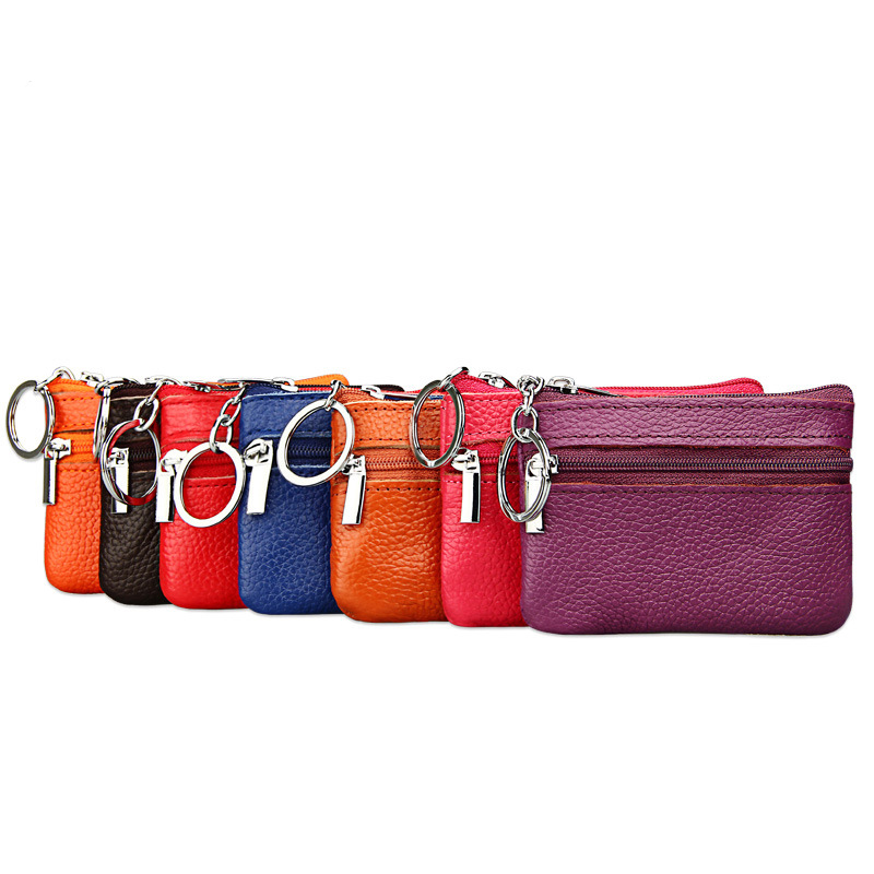 Women Mini Zero Wallet Ladies Zipper Genuine Leather Coin Purse Multi Functional Small Coin Credit Card Key Ring Wallet fat fish key wallet coin purse package characteristics of the national wind cloth animal key sets key ring wholesale mixed batch