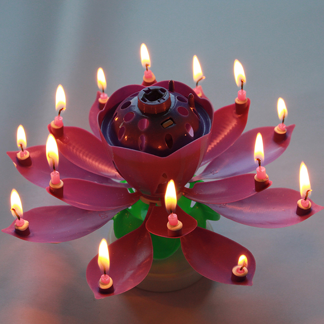 4 Colors Candles Double Layer Rotating Musical Lotus Electronic Art Birthday With Holder Gift For Kids