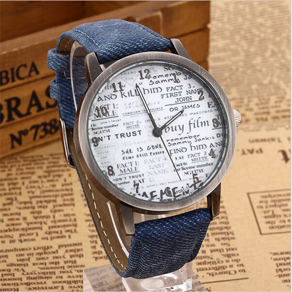 Retro Women Men Casual Roman Numeral Dial Denim Fabric Analog Quartz Wrist Watch Buy One Give One Watches
