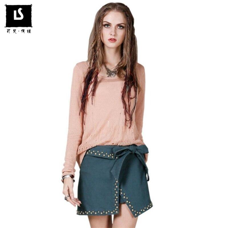 Europe Cotton Splice Asymmetrical Vintage Rivets Skirt Women s 2018 Spring Autumn mini skirt Personality Fashion