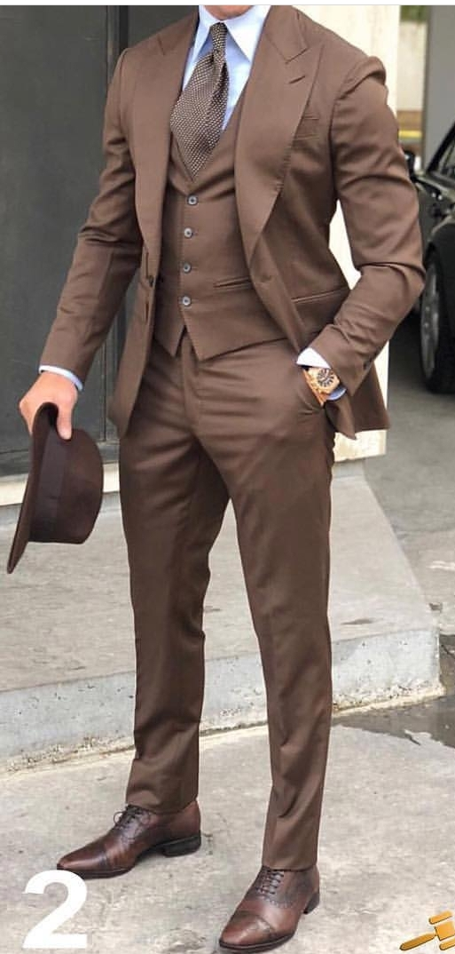 Latest Coat Pant Designs Brown Men Suit Slim Fit Skinny 3 Piece Tuxedo Custom Gentle Blazer Groom Prom Suits Terno Masculino HK8