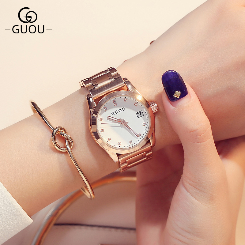 Relogio Feminino 2018 New Luxury Brand GUOU Rose Gold Calender Waterproof Women quartz watch Fashion Lady Dress Clock Chasy fashion women calendar rose gold quartz watch luxury brand guou six pin retro big dial female multifunction waterproof clock
