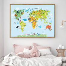 Nordic Decoration Cartoon Anime World Map Animal Wall Art Canvas Poster and Print Painting Picture for Living Room