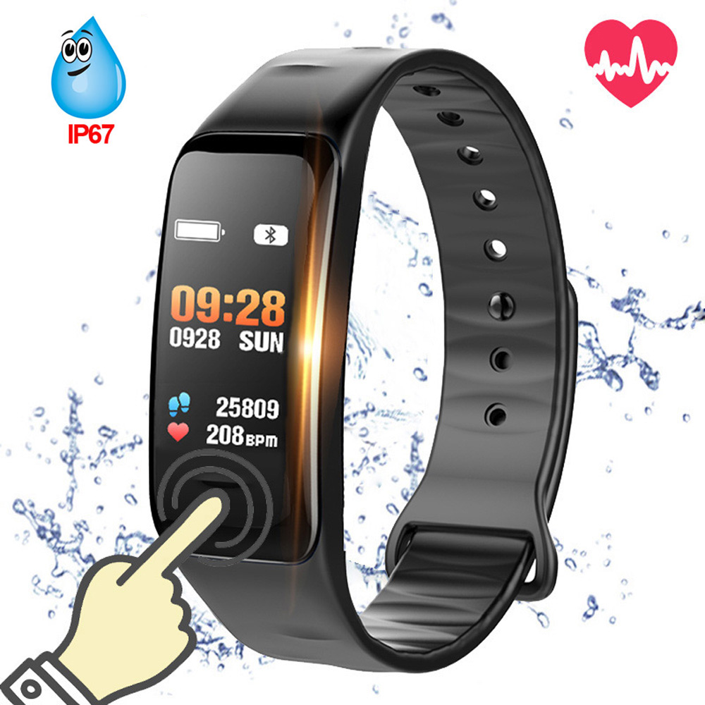 2018 Smart armband C1s Wasserdichte armband blutdruckmessung pulsmesser Fitness tracker band