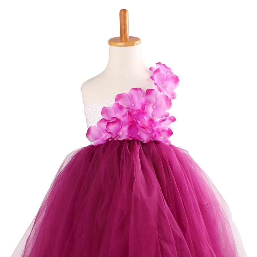 Girls Plum Flowers Wedding Tutu Dress with headband Children Summer Handmade Tulle Costume (6)
