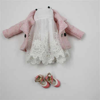 DBS Doll Clothes For 1/6 Blyth licca Azone ICY doll 2 Pieces Lace Dress Pink Coat girl gift