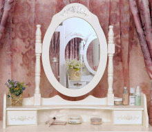 White Vanity Makeup Dressing Table Set with Stool 4 Drawer&Mirror Jewelry Wood Desk US Shipping