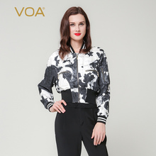 VOA thin style flight jacket bat sleeved silk short coat female Spring And autumn print  zipper Baseball Shirt coat B7137
