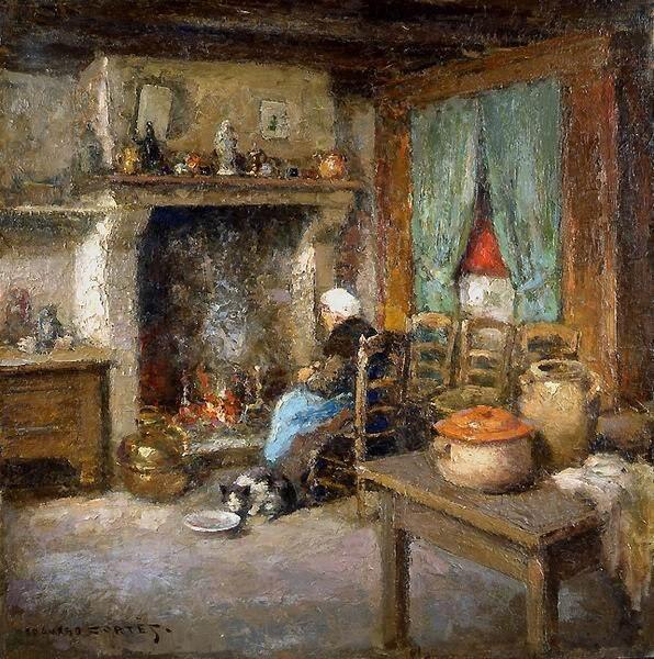 Maison bretonne Bretonne-Assise-Face-a-la-cheminee-Edouard-Leon-Cortes-100-Hand-Painted-Oil-Painting-Repro-Museum