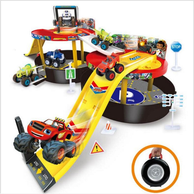 Blaze Monster Machines Monster Bigfoot Catapult + Track Parking Lot Toy Model Anime Action Figure Juguetes Kids Toys Gifts+2 Car puppy canina juguetes towerbig toys russian anime doll action figures car parking puppy dog toy gifts everest dog children gifts