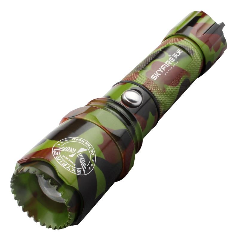SKYFIRE सेल्फ डिफेंस टैक्टिकल एलईडी टॉर्च जूमटेबल अटैक हेड और बाइक माउंट फैशन छलावरण रंग 18650 बैटरी के साथ