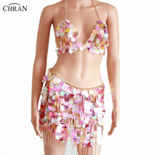 Chran Tassels Chain Burning Man Sequin Rave Outfit Body Jewelry Sexy Bikini Showgirl Belly Dance Wear