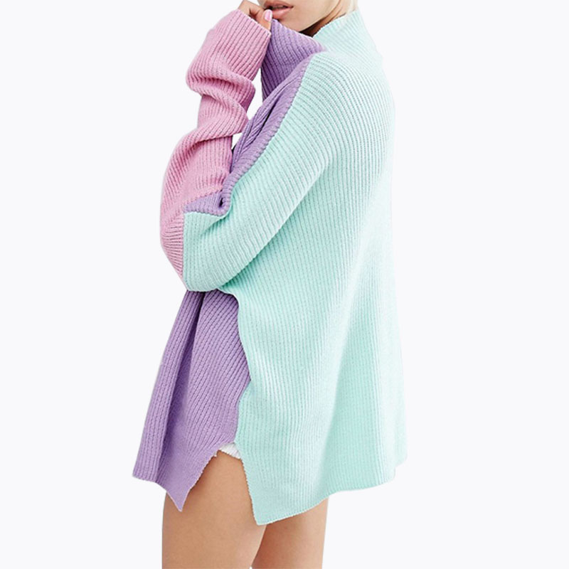 Christmas Sweater Women Turtleneck Knitted Jumper Bat Sleeve Loose Colorful Pullover Patchwork Winter Clothes Women Pull Femme