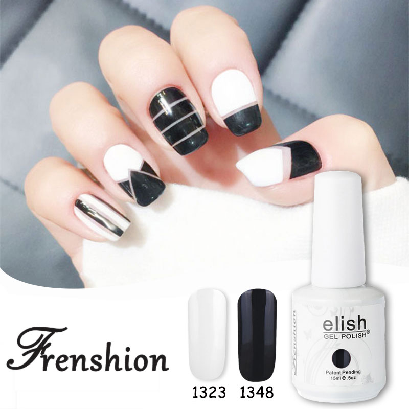 Frenshion15ml Black Noir Color Uv Led Soak Off Gel Nail Polish French Tips Top Base Coat Curing In From Beauty Health On Aliexpress