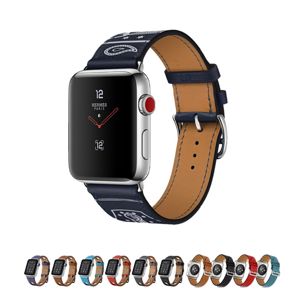 Genuine leather strap for apple watch band 42mm/38mm single tour bracelet watchband for apple watch iwatch 3/2/1  black belt istrap black brown red france genuine calf leather single tour bracelet watch strap for iwatch apple watch band 38mm 42mm
