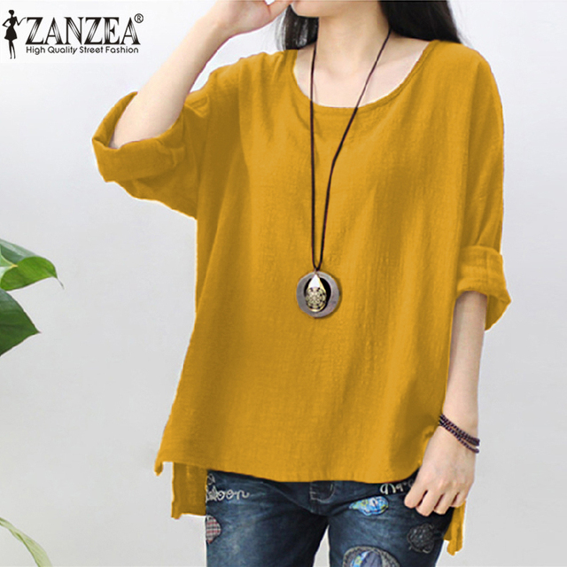 bc724cfb3af3 New ZANZEA Autumn Cotton Linen Blouse Women Long Sleeve Split Hem Solid Shirt  Casual Loose Work OL Tops Robe Femme Party Blusas