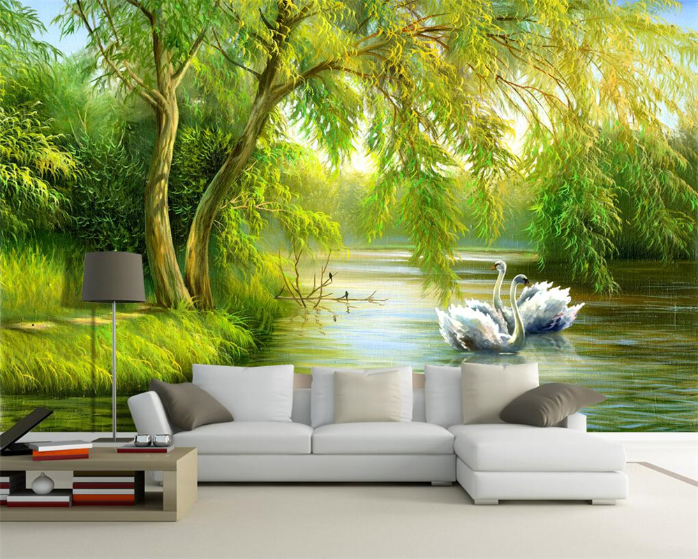 Beibehang Customize Any Size Photo Wallpaper Forest Swan