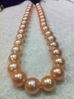 Free shipping 003542 huge AAA+++ south sea 13 15mm pink pearl necklace jewelry 18