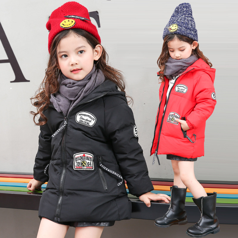 Angela & Alex Girls Boys Child Winter Jacket 90%white Duck Down Medium-long Coat Thickening Hooded Children Unisex Parka 2016 winter jacket girls down coat child down jackets girl duck down long flower hooded loose coats children outwear overcaot