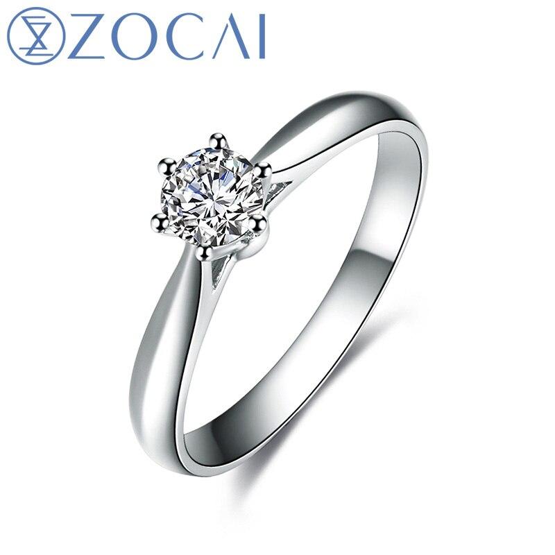 ZOCAI Abad Klasik Nyata 0.18 CT D-E / SI Berlian Engagement Wanita - Perhiasan bagus - Foto 1