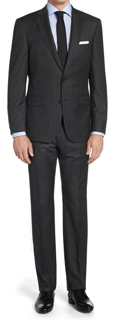 Black Mens Pinstripe Suit Custom Made Best Wedding Tuxedos 2017 Tailored Single Ted Men Suits