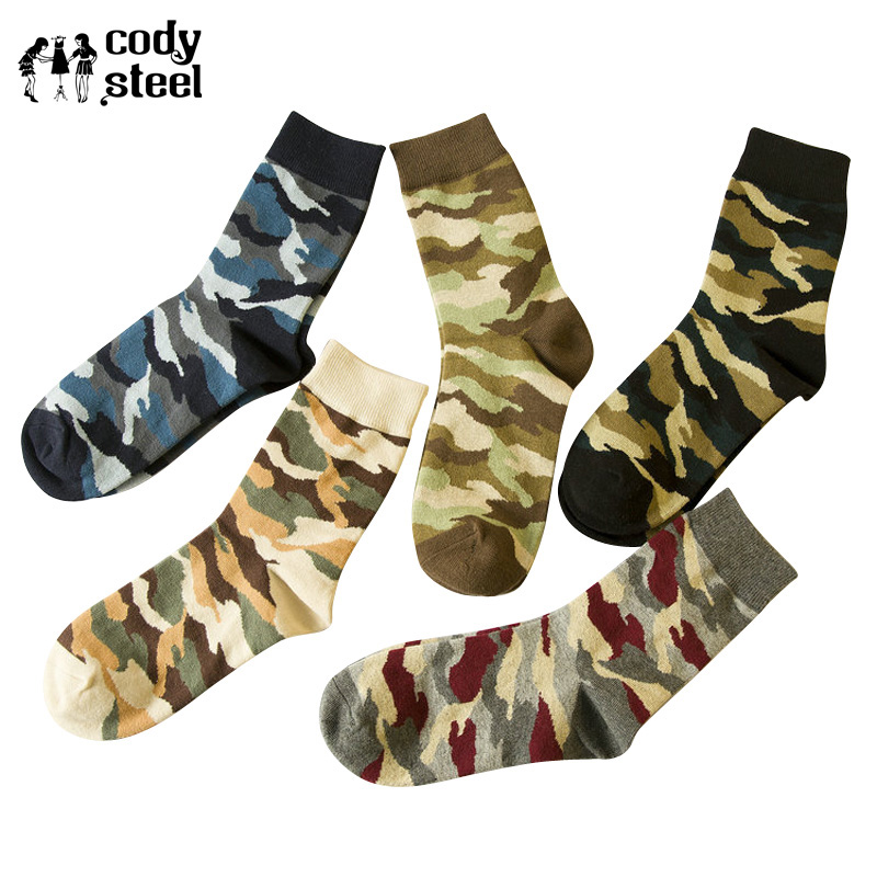 Cody Steel Cotton Men Socks Wholesale Classic Camouflage Socks Fashion Men Casual In Tube Socks Long Men 5pairs/lot