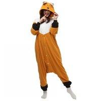 2016 Spring Winter Orange Kigu Fox Onesie Fleece Pyjamas Soft Cartoon Costume Onesies Pajamas Womens Pijamas