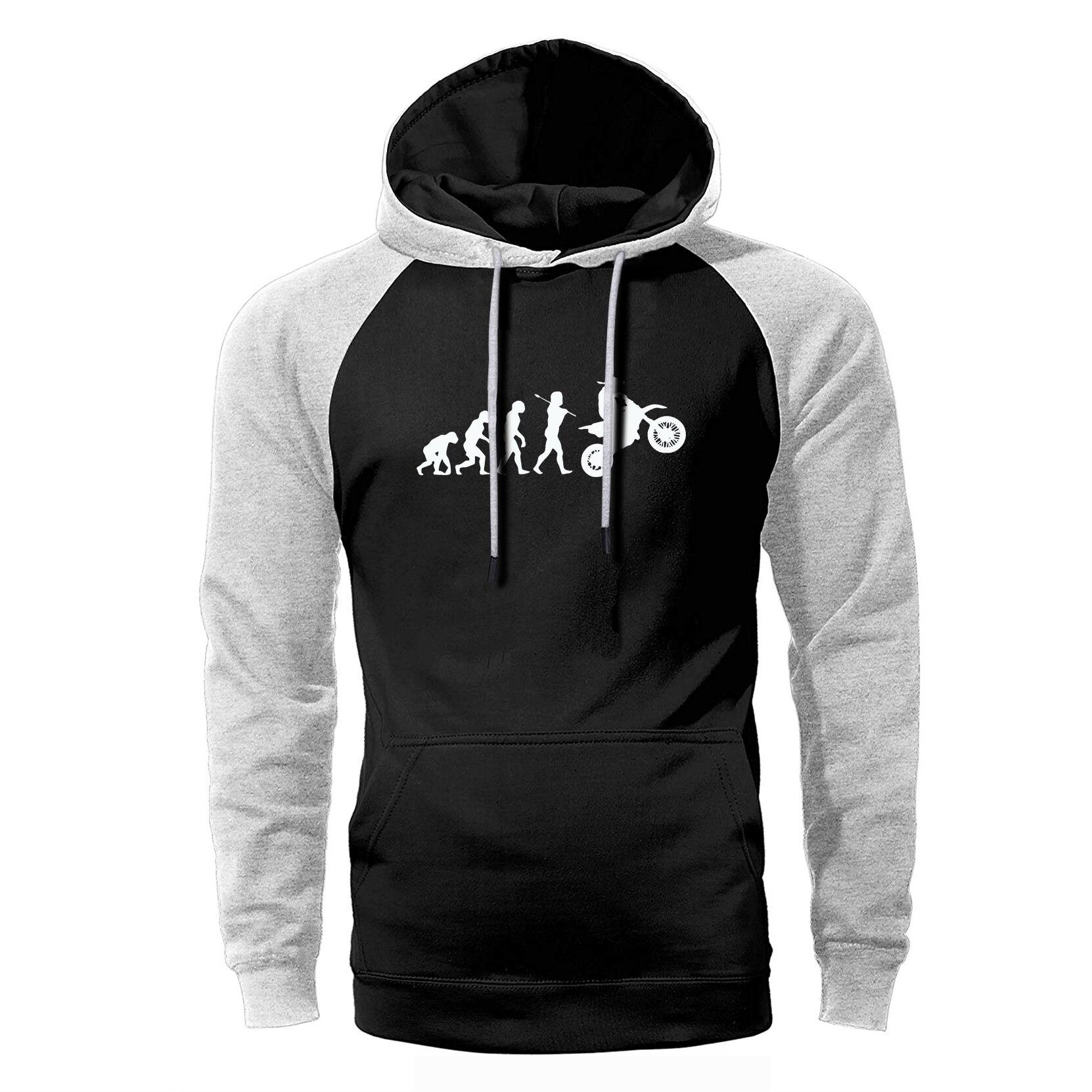 Dirtbike Evolution Motocross Hoodie Men Hipster Raglan Streetwear Sweatshirts 2019 Spring Autumn Fleece Warm Loose Sportswear