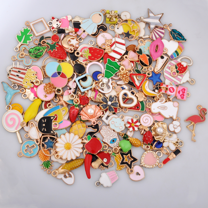 30pcs Mix Gold Metal Enamel Charms For Earring Fashion Jewelry Making Charm And Pendants For Bracelet Dangle Assorted Mixed Lot(China)