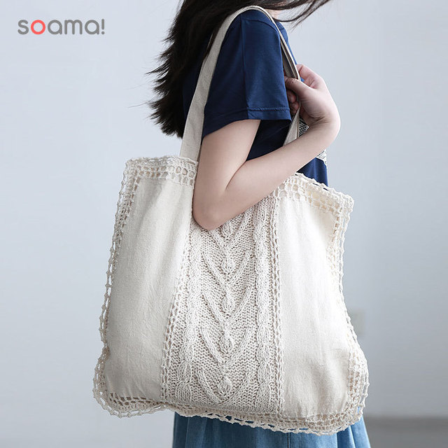 Vintage Cotton Linen ganchillo a mano bolsa tela girls tejida bolso ...