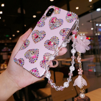 For iPhone XR Luxury Heart Bling Crysta Diamond case for iphone XS Max X 8 8plus 6 6S 6P 7 7P Girl Lady Woman gift case +strap
