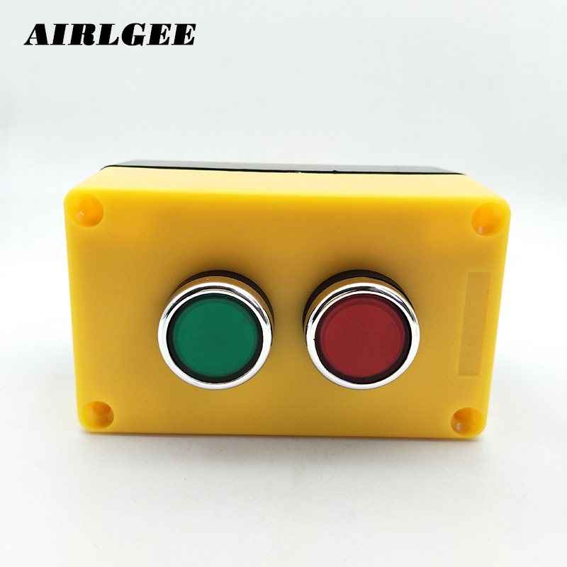 цена на 380V 10A NO + NC Red Green LED Lamp Latching Push Button Switch Station w Waterproof Box
