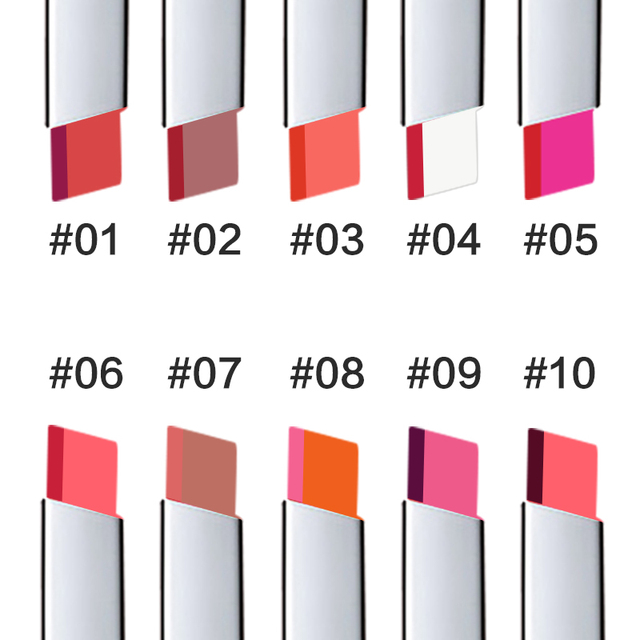 TUTU Lips Makeup Double Color Gradient Lipstick 10 Color Gloss Korea Makeup Lips Cosmetic Face Make Up Waterproof Famous Brand